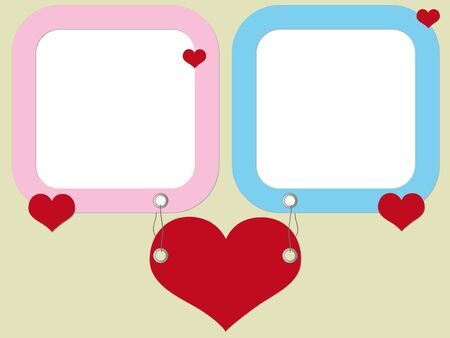 Valentine photo frames with hearts Vector
