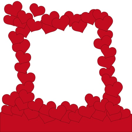 Valentine background with frame of hearts Vector