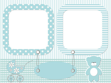 Blue baby photo frames Vector