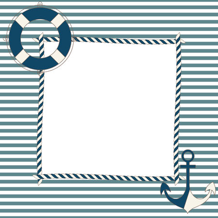 Children frame with nautical icons Vector