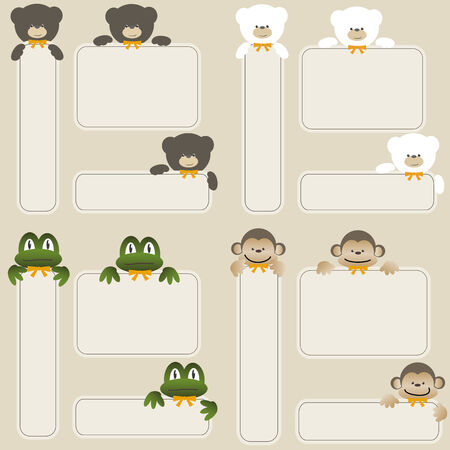 Set of monkey, frog and bear with banners  Vector