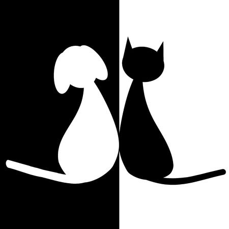 dog ears: Black and white dog and cat
