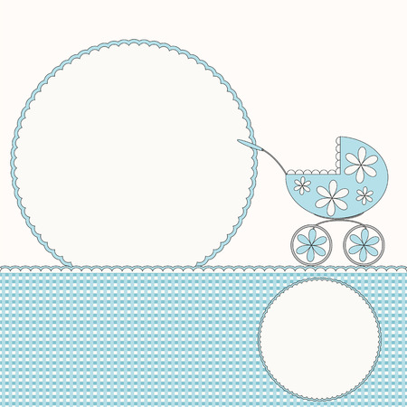 Blue baby arrival card or photo frame with pram  Vector