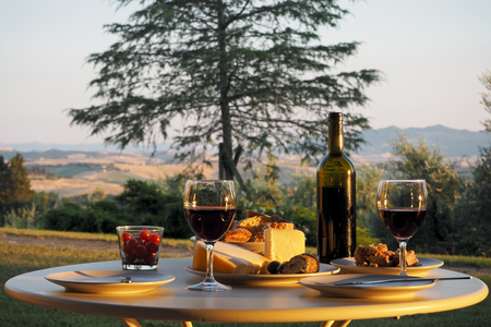 lust for life: dinner with wine, bread and cheese at a table in the garden