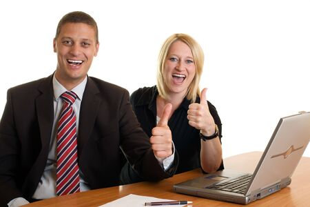 Businessman and businesswoman expressing success Stock Photo