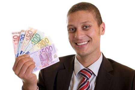 finanzen: Businessman holding cigar and euro banknotes in hands Stock Photo