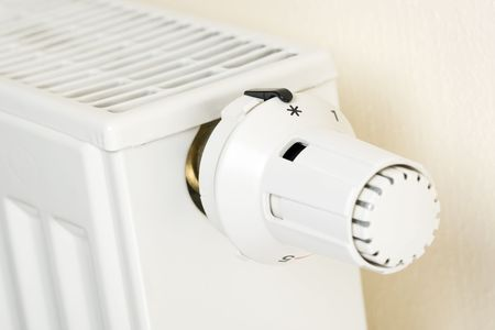 Close-up of a thermostat at zero heating position Stock Photo