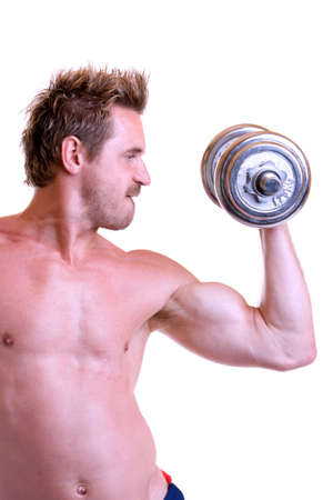 free plates: Bodybuilding with barbell Stock Photo