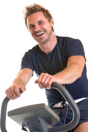 Man sitzt auf dem Fahrrad die Spinnerei