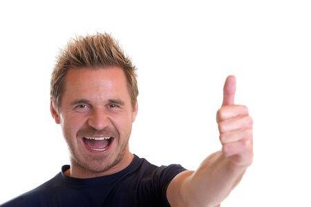 Sportive man express happiness Stock Photo - 5170339