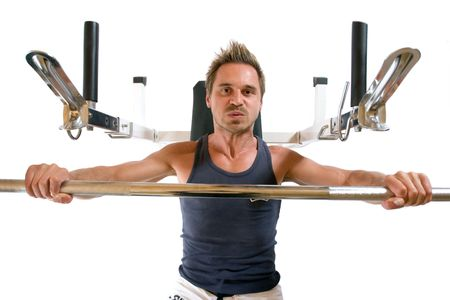 isoliert: Man pressing barbell on bench