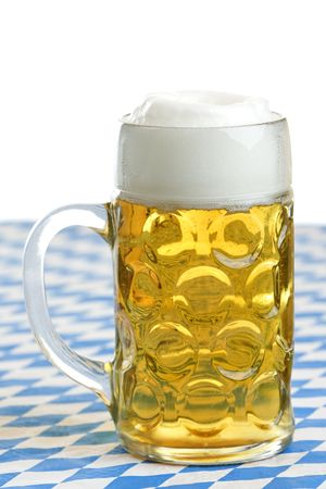 Close-up of original Bavarian Oktoberfest Beer stein (mug) photo