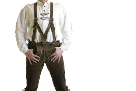 Man wearing Oktoberfest leather trousers (lederhose) photo