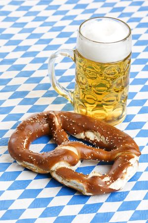 Original Bavarian Oktoberfest Pretzel and Beer Stein (mug) Stock Photo - 5254926