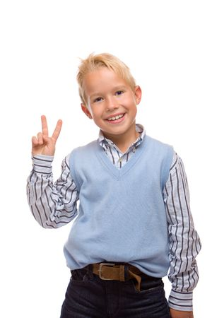 Young child is laughing and express self confidence photo