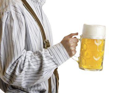 stein: Man holding Oktoberfest beer stein