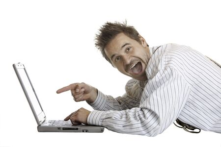 Bavarian Man found something interesting on his laptop Stock Photo - 5598798