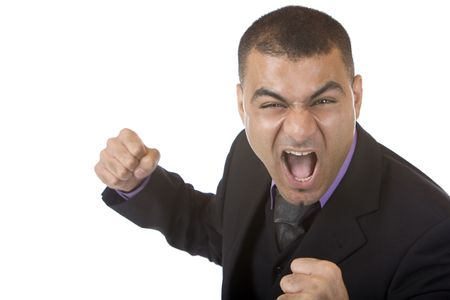 angriness: Closeup of stressed businessman which is close to hit somebody