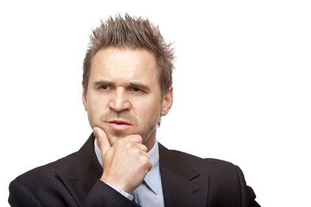 contemplative: closeup of contemplative businessman on white background Stock Photo
