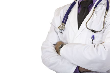 maladies: Closeup of torso of medical doctor, wearing a white coat and stethoscope. Isolated on white Stock Photo