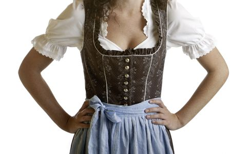 wiesn: Closeup of a Bavarian girl wearing a traditional  Oktoberfest Dirndl cloth.  Isolated on white.
