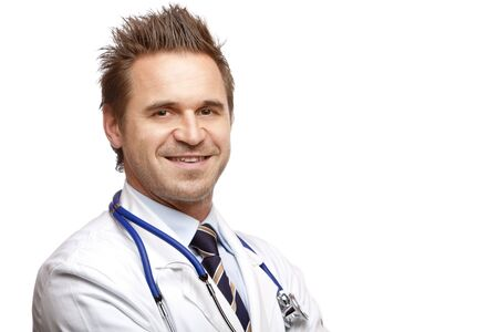 maladies: Medical doctor is standing self confident and smiles into camera. Isolated on white.
