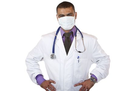 maladies: Medical doctor wears protection mask and stethoscope, standing self confident with hands on hips. Isolated on white.