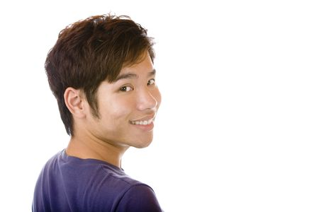 Closeup of Asian man smiling happy into camera. Isolated on white. photo