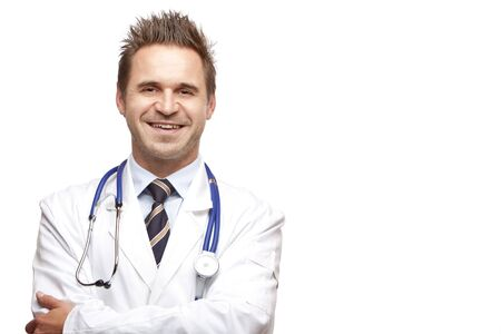 maladies: Medical doctor  with crossed arms, looks self confident and smiles into camera. Isolated on white.