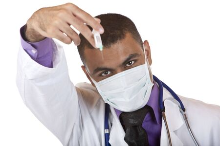 malady: Doctor with mask holding a injection in his ands and looks into camera. Isolated on white.