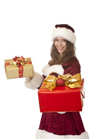 nikolaus: Closeup of woman dressed like Santa Claus holding in each hand a Christmas gift box. Isolated on white.