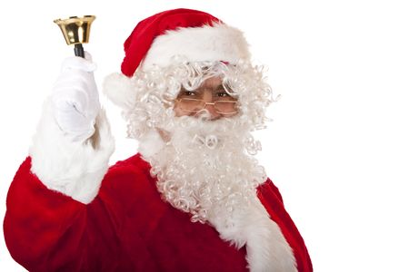 Closeup of Santa Claus which is holding a christmas bell. Isolated on white. Stock Photo - 6057358