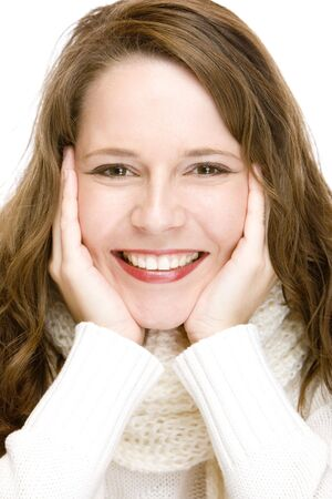 Young woman wearing a scarf and laughs happy into camera. Isolated on white. photo