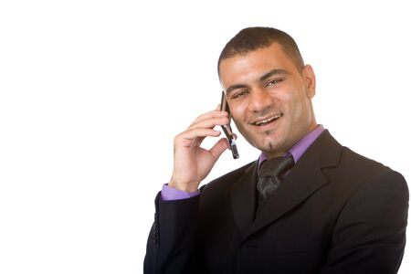 Closeup of businessman making a telephone call. Isolated on white. photo