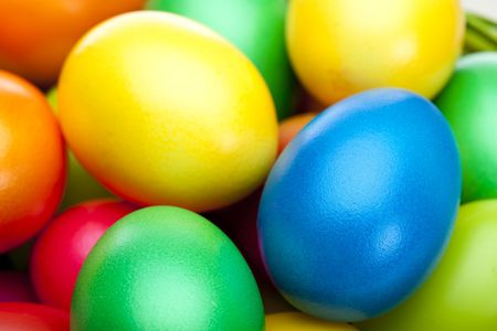 Closeup macro of bunch of colorful Easter eggs Stock Photo - 6598082
