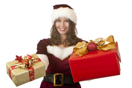 Closeup of woman dressed like Santa Claus holding in each hand a Christmas gift box. Isolated on white. photo