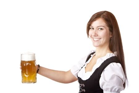 Beautiful woman stems Oktoberfest beer stein. Isolated on white background. photo