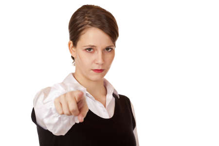 pointed arm: Serious business woman points with finger on camera. Isolated on white background.