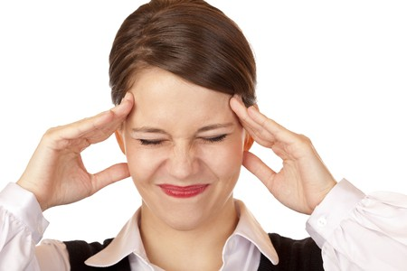 contorted: Young business woman has strong migraine. Isolated on white background.