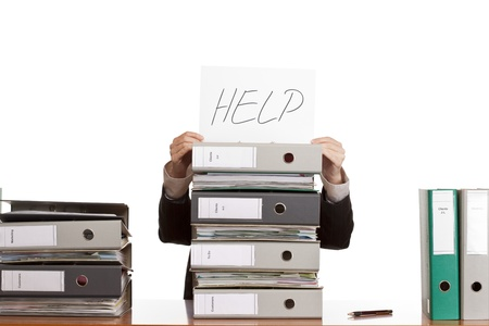 business woman needs help to manage work. Isolated on white background. Stockfoto