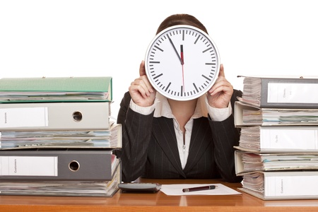 Woman in office has stress because of time pressure. Isolated on white background. Stock Photo - 8423389