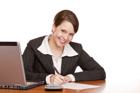 assistent: Attractive business woman sitting in office and signing contract. Isolated on white background.