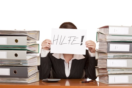 cry for help: Business woman needs help to manage work. Isolated on white background. Stock Photo