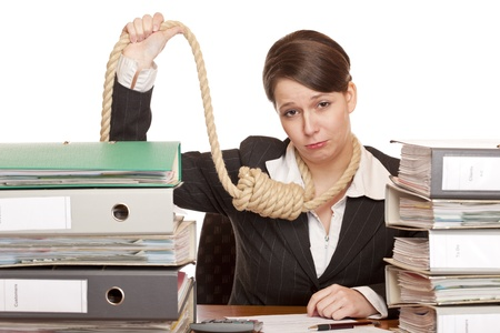 Woman in office with sling around head is forced to suicide because of bankruptcy. Isolated on white background.