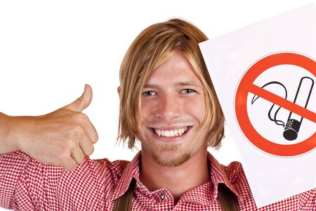 agrees: Happy Bavarian man agrees to no-smoking-rule . Isolated on white background.