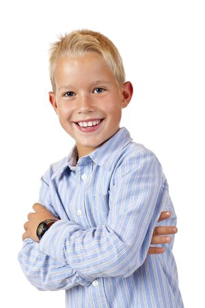 rascal: Portrait of young smiling boy with crossed arms. Isolated on white background.