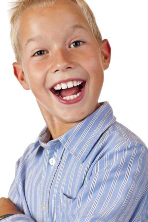 scallywag: Portrait of young happy smiling boy. Isolated on white background.
