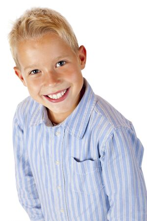 scallywag: Portrait of young smiling boy. Isolated on white background.