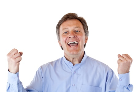 hurray: Attractive, older, aged, succesful man jubilates happy at camera. Isolated on white background. Stock Photo