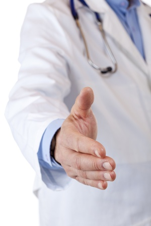 the medic: Close-up of a outstretched Hand of a medical doctor. Isolated on white background.